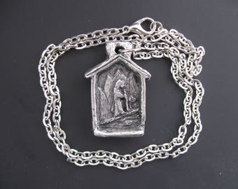 St. Bernard: Patron of Skiers, Rock and Mountain Climbers, Hikers, Large Dogs; Handmade Necklace