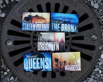 New York City postcards: two each of The Bronx, Brooklyn, Manhattan, Staten Island and Yaaaas Queens! Made in NYC