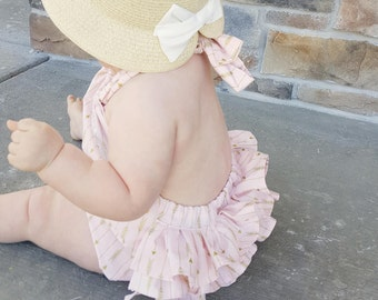 Ruffled Baby Girl Romper - Pink and Gold Arrows - Baby Girl Sunsuit - Baby Girl Romper - Baby Girl Bubble Romper - Free Shipping