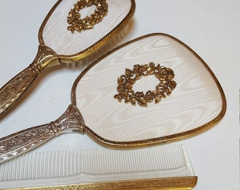 Vanity Hand Mirror, Brush and Comb Set, Rose Wreath, Made in USA - Oak Hill Vintage