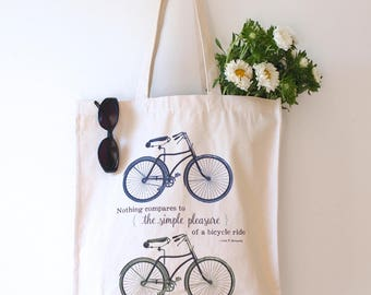 Bicycle Tote Bag Eco Friendly Shopper Quote Print Vintage Bike Lover Cyclist Gift Beach Bag