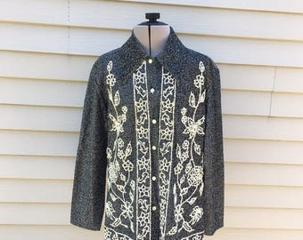 Vintage Silver Button Down Shirt with Cream Beading, Floral Pattern Blouse