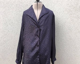 Vintage 90s Navy Dots Polyester Blouse, Silky Blouse, 90s Women's Clothing, 90s Grunge, Vintage Blouse, 90s Button Up, Size 12