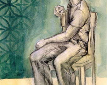 original art, painting, Faded Wallpaper, life drawing, charcoal, acrylic, male figure, clothed, Kathleen Ney, male, men