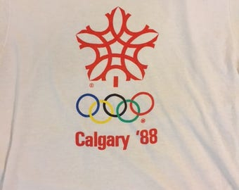 Vintage 80's Calgary '88 1988 Olympics Canada paper thin ringer t shirt size M