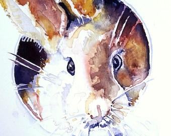 Original watercolor bunny. Spring/easter card