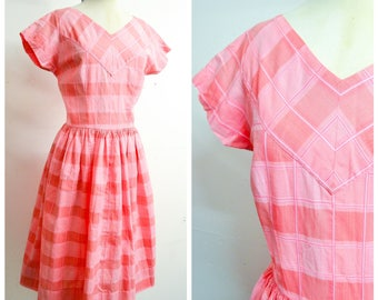1950s 60s Pink checked stripe cotton day dress / 50s 1960s stripy full skirt summer dress - M