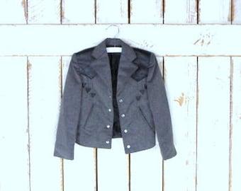 Vintage childrens/boy/girl grey black western blazer jacket/cowboy/baby rodeo jacket/Far West jacket/toddler 4