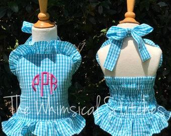 Girls Monogram Swim Suit, Gingham Swimsuit, Boutique Swimsuit, Infant Swimsuit, Infant Bathing suit, Toddler bathing suit, monogram