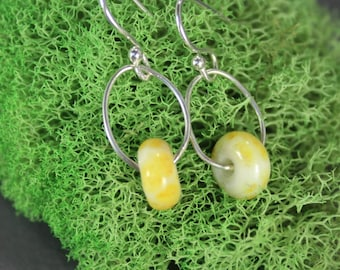 Dainty Dangles Glass & Sterling Silver Earrings - Contemporary - Lampwork - One of a Kind