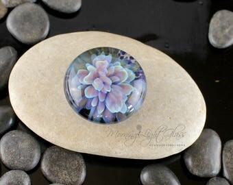 Orchid Bloom Cabochon - Lampwork Glass - Jewelry Making Supply - 24mm