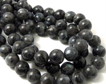 Larvikite, 12mm, Round, Smooth, Large, Natural Gemstone Beads, 15.5 Inch Strand - ID 2231