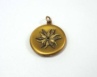 """Antique Edwardian Locket -  J J Sommers gold plated - 1-1/4"""" - glass stones - ca 1910"""