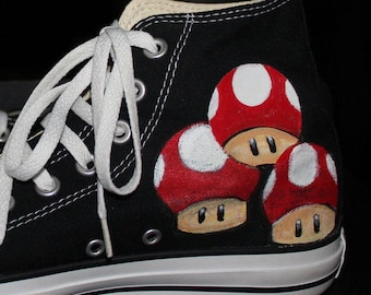 Hand Painted  YOSHI MARIO kart TOTORO Shoes Sneakers Converse any size or style Men's Women's Tom's  Converse hand painting on 4 sides
