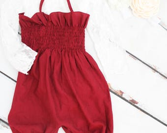 Burgundy Smocked Pants Set Romper & Headband.  Newborn Baby Girl Coming Home Outfit, Christmas Holiday, 1st Birthday Outfit, Mommy Me, Wine