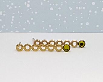 Gold Green Stud Earrings , Gold Long Stud Earrings, Green Peridot Earrings, Green Swarovski Studs,August Birthstone Earrings, Gift Ideas