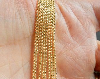 Gold vermeil (gold plated sterling silver) diamond cut 1.2mm ball finihed chain, finished necklace, faceted ball chain,