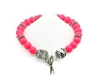 Hair Stylist Scissors Hot Pink Beaded Bracelet