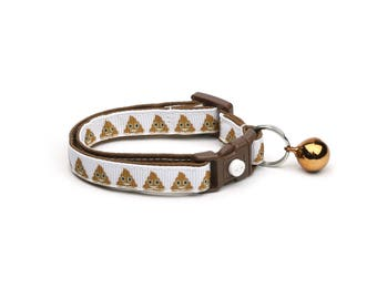 Poop Cat Collar - Little Stinker - Poop Emoji - Small Cat / Kitten Size or Large Size