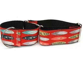 "Greyhound Dog Collar - VIntage Surfboards - 2"" Martingale Dog Collar"