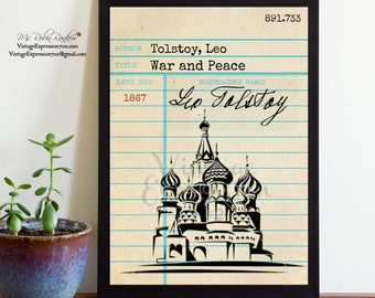 Leo Tolstoy, War and Peace, Vintage Library Card Art, Book Art, Silhouette Print
