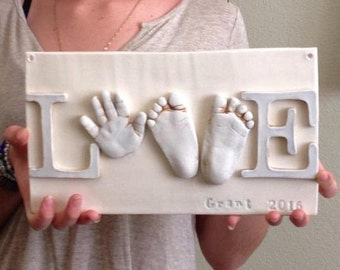 Infant Keepsake Art - Hand Print Love Decor -  Newborn Nursery Art  - Personalized Nursery Art - Baby Nursery Art - Custom Baby Nursery