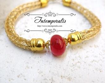 Lampwork and viking knit bracelet, red, OOAK, SABRLWVI05