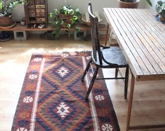 vintage kilim rug, earthy colors wool flatweave rug, geometric throw rug