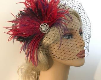 Fascinator, Wedding Headpiece, Bridal Headpiece, 1920s Headpiece, Bridal Fascinator, Purple Black Red