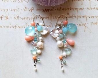 Peach Aqua Gemstone Cluster, Peach Coral Dangle Earrings, Pink Mint Cluster, Cornflake Pearl Dangle, Beach Cluster Earrings