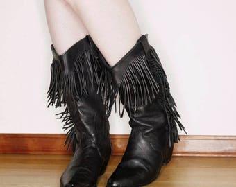 80s 90s dingo Black leather fringe cowboy boots size 7