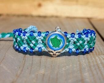 Terrapin Station Grateful Dead inspired hemp bracelet, stealie, hemp jewelry, macrame, micromacrame, hippie, music festivals