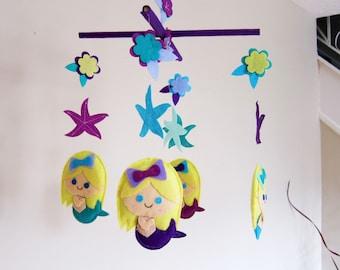 "Custom ""Little Mermaid"" Theme Baby Crib Mobile, Mermaid Baby Nursery Mobile, Starfish Felt Mobile, mermaids  and flowers Felt Baby Mobile"