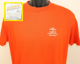 West Central vintage t-shirt Short M/L orange 80s Sportswear The difference is you