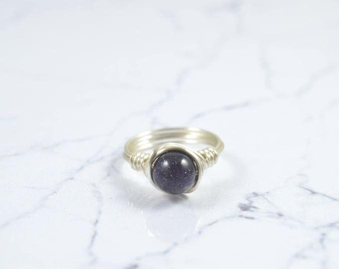 Blue Goldstone Ring, Blue Sparkle Crystal Ring, Gemstone Ring, Sterling Silver Ring, Blue Galaxy Ring, Natural Ring, Organic Ring