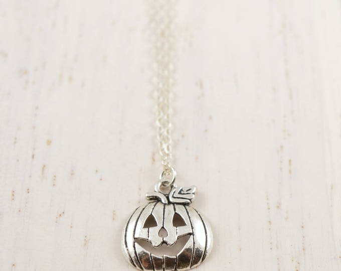 Happy Silver Jack-O-Lantern Necklace
