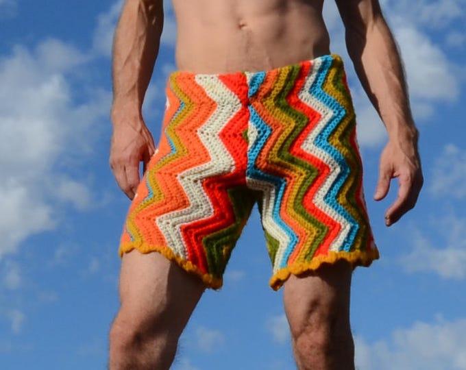 Crochet Shorts Multicolor Zigzags