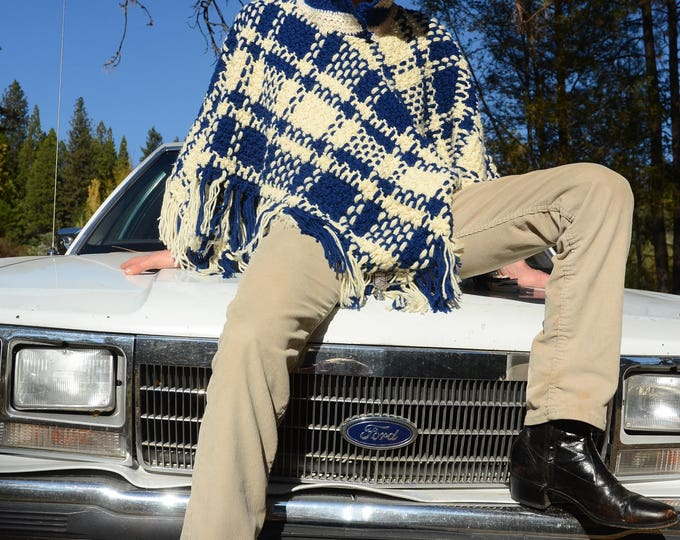 Crochet Poncho Navy and Ivory Plaid and Hood