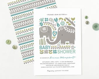 Elephant Baby Shower Invitation, Jungle Baby Shower Invite for Boy or Girl // JUNGLE JOY