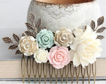 Floral Bridal Hair Piece Ivory Cream Off White and Gold Wedding Pink Bridal Hair Comb Vintage Style Antique Gold Branch Gold Rose Mint Aqua