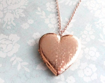 Rose Gold Heart Locket Necklace Large Photo Pendant Vintage Style Long Chain Romantic Valentines Day Gift For Mom Mothers Girlfriend Women