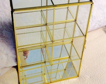 """Vintage 16"""" Curio Glass Jewelry Display Box Casket Gold Brass 6 Compartments Mirror 1960"""