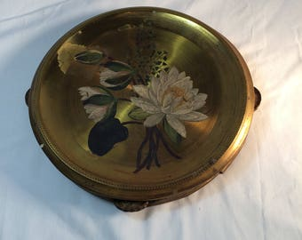Vintage Brass Tambourine with Tole Painted Water Lilies 1940's Brass Hand Painted Tambourine Musical Instrument