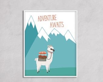 Adventure Awaits Nursery Art, Boy Nursery Travel Decor, Adventure Nursery Alpaca Decor, Mountain Nursery Boy Blue Decor Llama Poster Print
