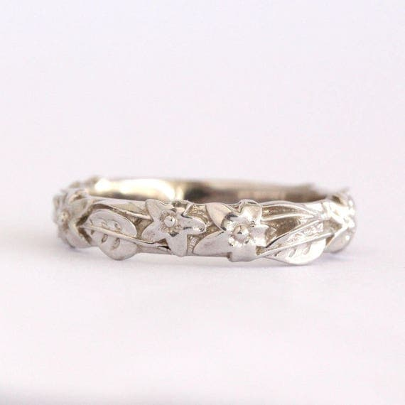 Flower and leaf wedding band leaves and flowers wedding ring flower and leaf wedding band leaves and flowers wedding ring white gold leaf and flowers wedding ring forest nature floral wedding ring junglespirit Choice Image