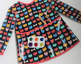 READY TO SHIP 8/9 Extra Long Girls Long Sleeved Art Smock School Smock in Navy with Kitties