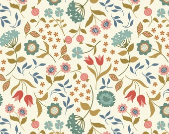 Country House Floral on Cream  A241.1 - CHIEVELEY - Lewis and Irene Fabric - By the Yard