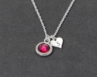 July Birthstone Necklace, Custom Initial Necklace Sterling Silver, Ruby Necklace Heart Jewelry Gift for Mother Birthstone Necklace