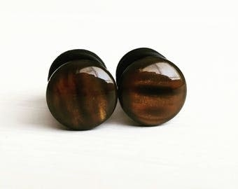 Tigers Eye Plugs for Gauged Ears, sizes 00g, 0g, 2g, 4g, 6g, regular earrings, 10mm, 8mm, 6mm, 5mm, 4mm, Faux Stone, Boho, One (1) Pair