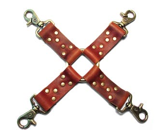 HOG TIE Fetish Restraint in Rust and Antique Brass - Mature